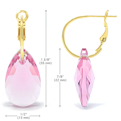 Aurora Drop Earrings with Pink Light Rose Pear Crystals from Swarovski Gold Plated - Ed Heart