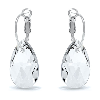 Aurora Drop Earrings with White Clear Pear Crystals from Swarovski Silver Toned Rhodium Plated - Ed Heart
