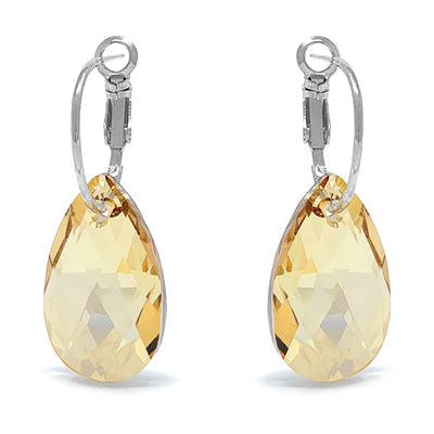 Aurora Drop Earrings with Yellow Beige Golden Shadow Pear Crystals from Swarovski Silver Toned Rhodium Plated - Ed Heart