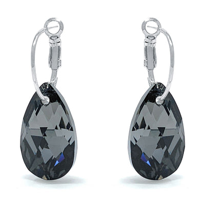 Aurora Drop Earrings with Black Grey Silver Night Pear Crystals from Swarovski Silver Toned Rhodium Plated - Ed Heart