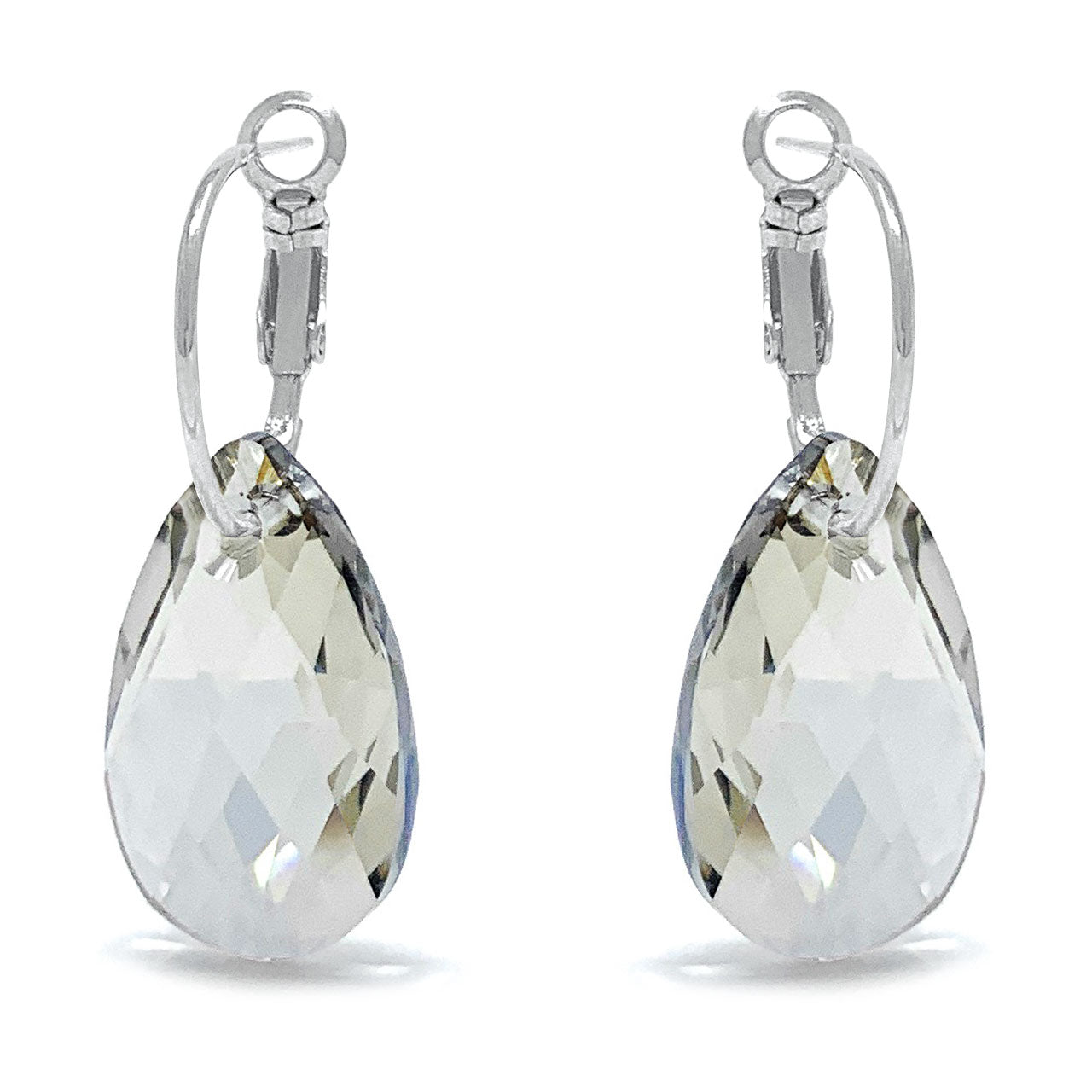 Aurora Drop Earrings with Grey Silver Shade Pear Crystals from Swarovski Silver Toned Rhodium Plated - Ed Heart