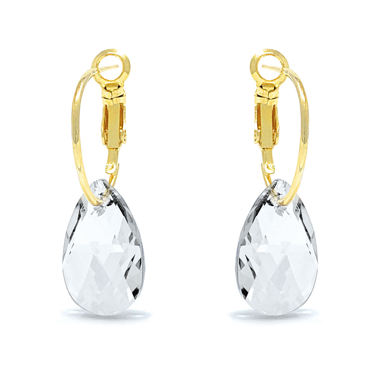 Aurora Small Drop Earrings with White Clear Pear Crystals from Swarovski Gold Plated - Ed Heart