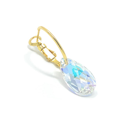 Aurora Small Drop Earrings with Clear Multicolor Aurore Boreale Pear Crystals from Swarovski Gold Plated - Ed Heart