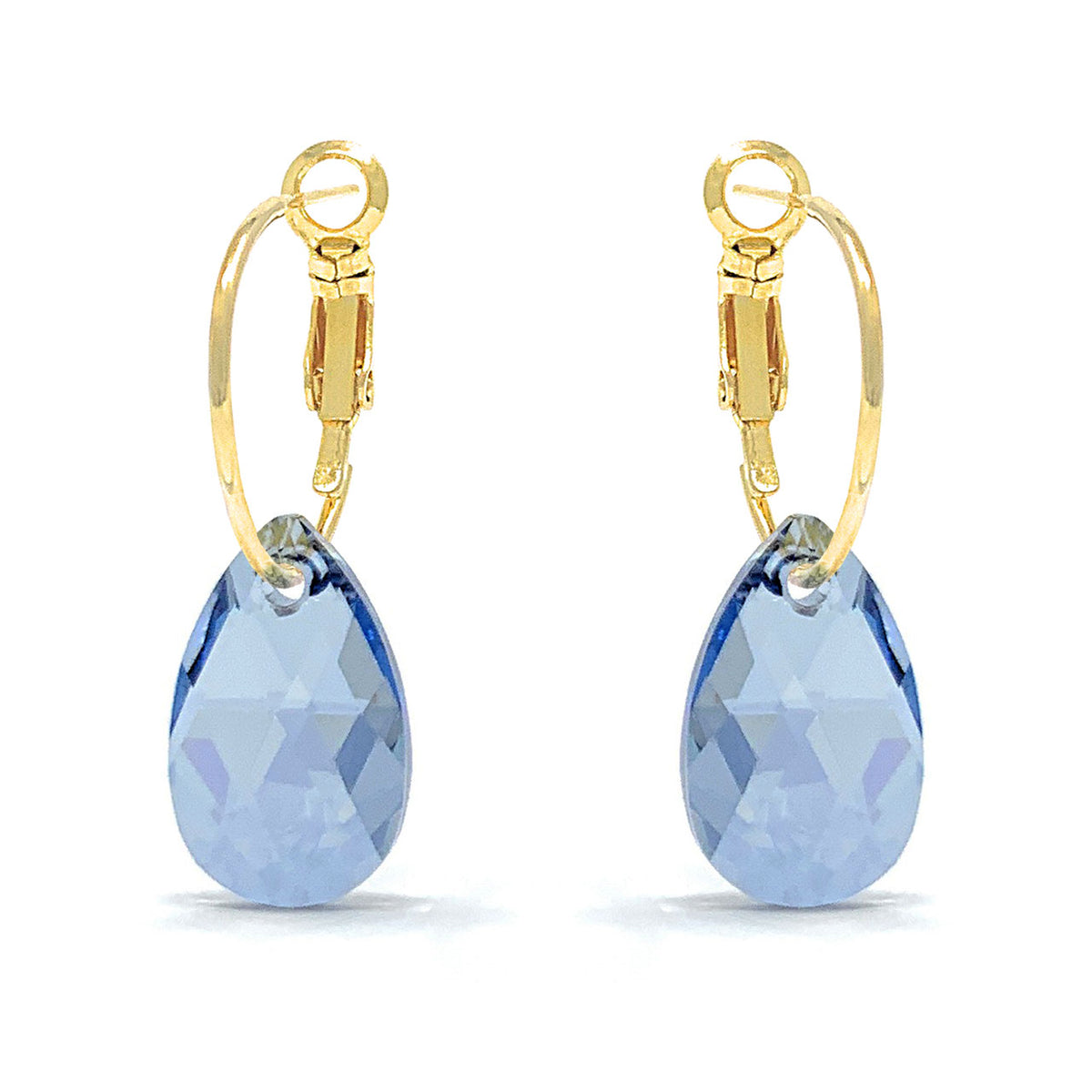Aurora Small Drop Earrings with Grey Blue Shade Pear Crystals from Swarovski Gold Plated - Ed Heart
