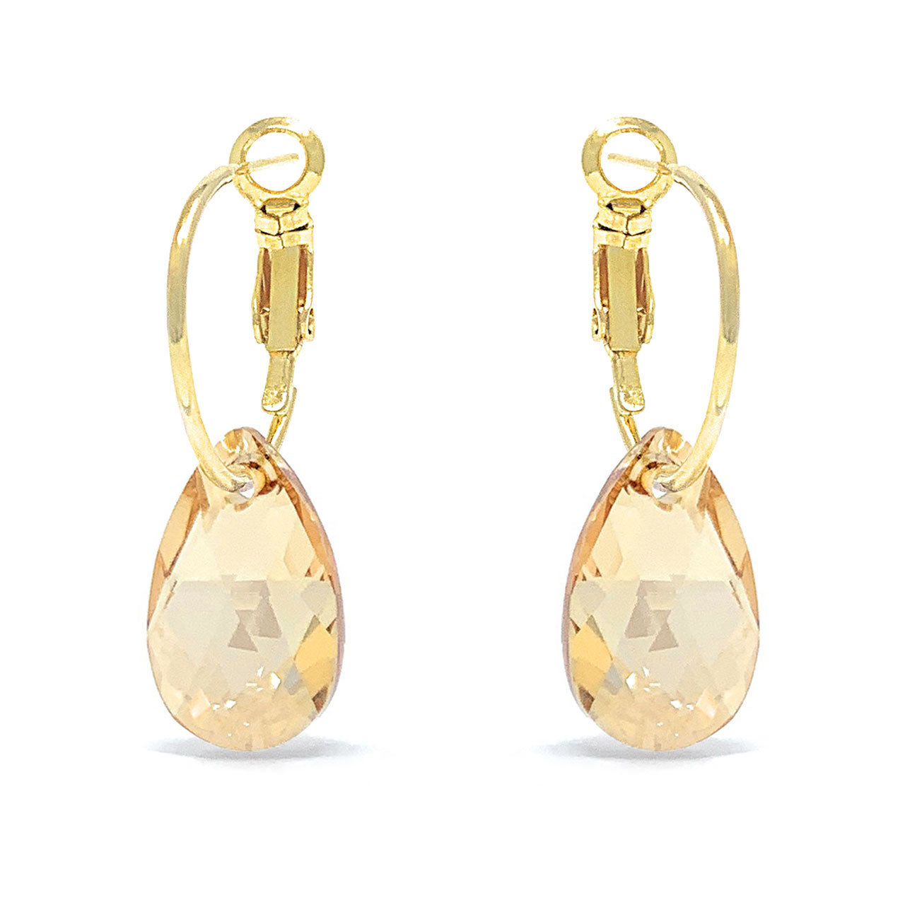 Aurora Small Drop Earrings with Yellow Beige Golden Shadow Pear Crystals from Swarovski Gold Plated - Ed Heart
