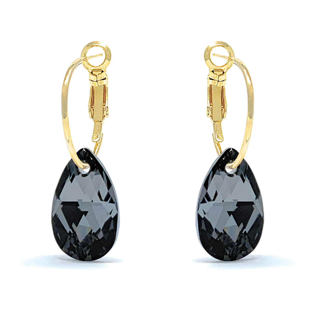 Aurora Small Drop Earrings with Black Grey Silver Night Pear Crystals from Swarovski Gold Plated - Ed Heart