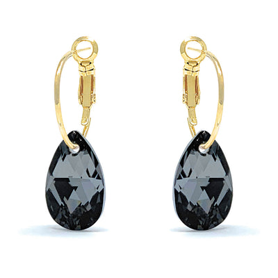 Aurora Small Drop Earrings with Black Grey Silver Night Pear Crystals from Swarovski Gold Plated