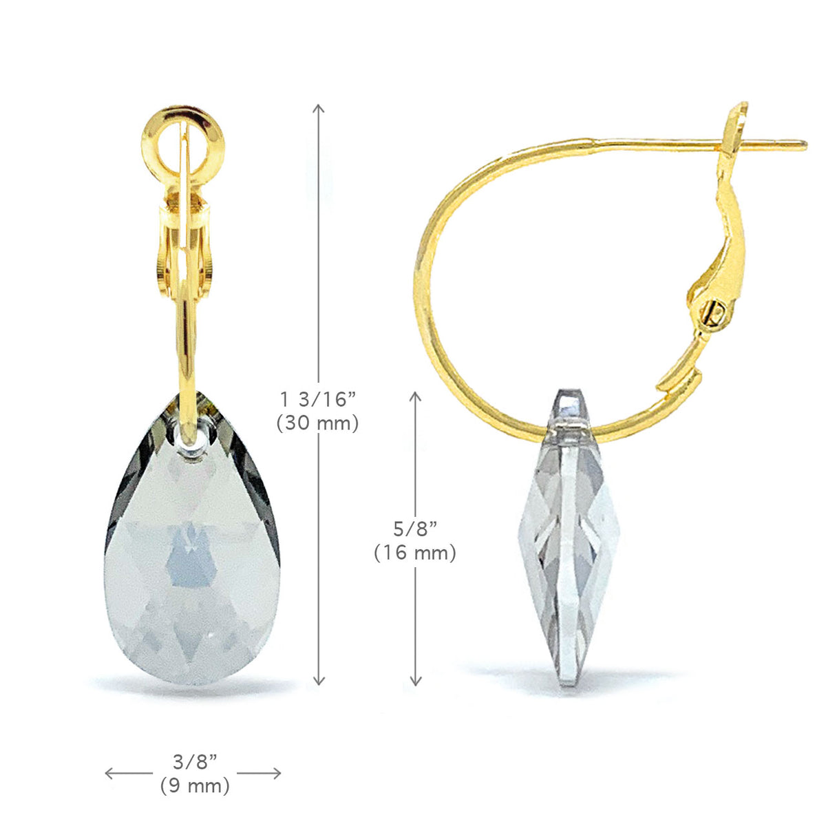 Aurora Small Drop Earrings with Grey Silver Shade Pear Crystals from Swarovski Gold Plated - Ed Heart