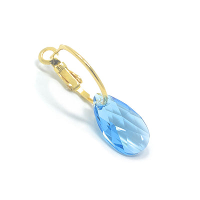 Aurora Small Drop Earrings with Blue Aquamarine Pear Crystals from Swarovski Gold Plated - Ed Heart