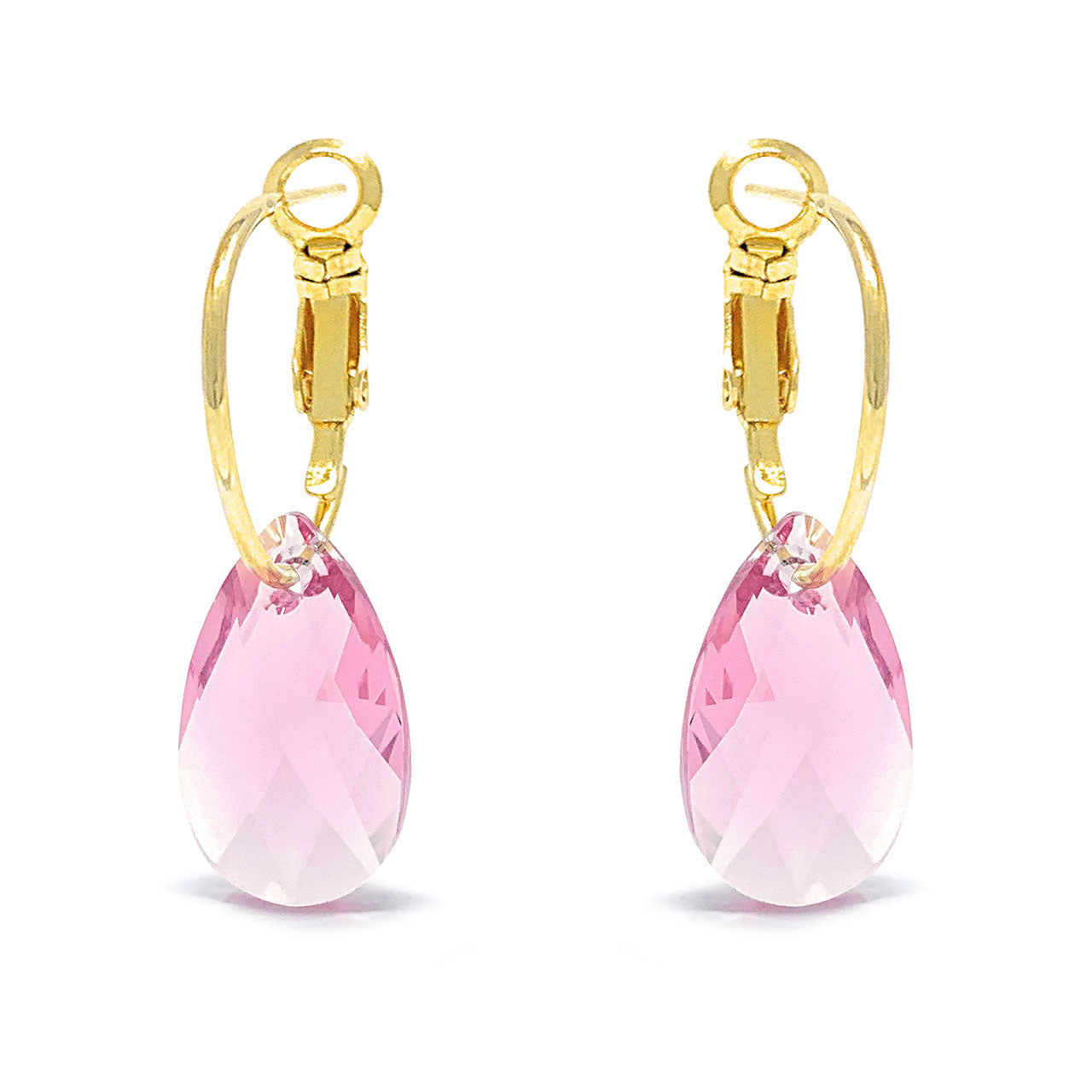Aurora Small Drop Earrings with Pink Light Rose Pear Crystals from Swarovski Gold Plated - Ed Heart