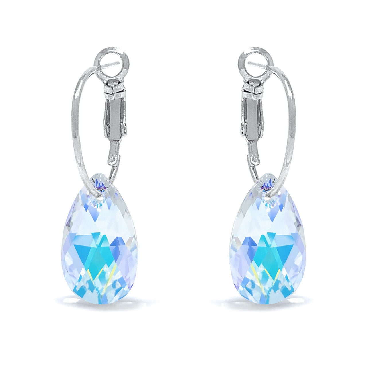 Aurora Small Drop Earrings with Clear Multicolor Aurore Boreale Pear Crystals from Swarovski Silver Toned Rhodium Plated - Ed Heart