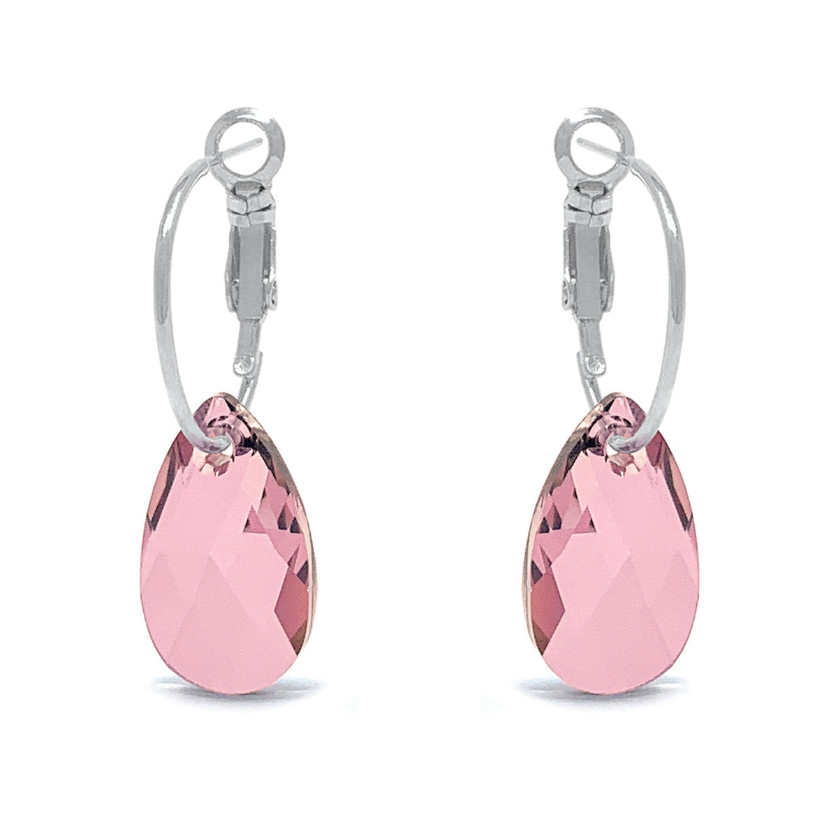 Aurora Small Drop Earrings with Beige Antique Pink Pear Crystals from Swarovski Silver Toned Rhodium Plated - Ed Heart