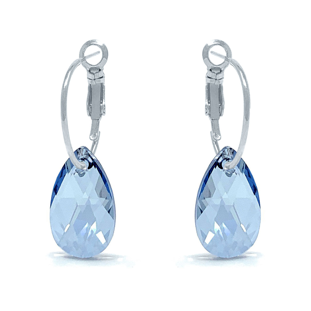 Aurora Small Drop Earrings with Grey Blue Shade Pear Crystals from Swarovski Silver Toned Rhodium Plated - Ed Heart