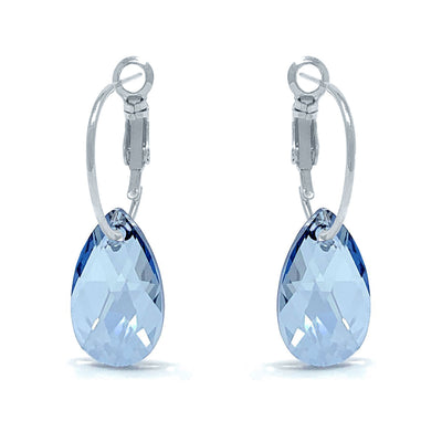 Aurora Small Drop Earrings with Grey Blue Shade Pear Crystals from Swarovski Silver Toned Rhodium Plated