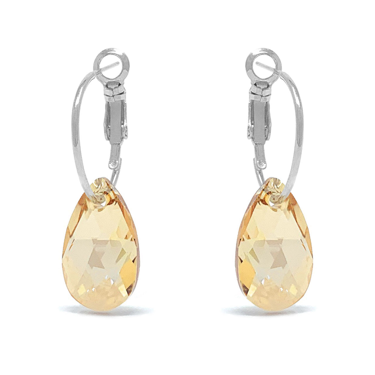 Aurora Small Drop Earrings with Yellow Beige Golden Shadow Pear Crystals from Swarovski Silver Toned Rhodium Plated - Ed Heart