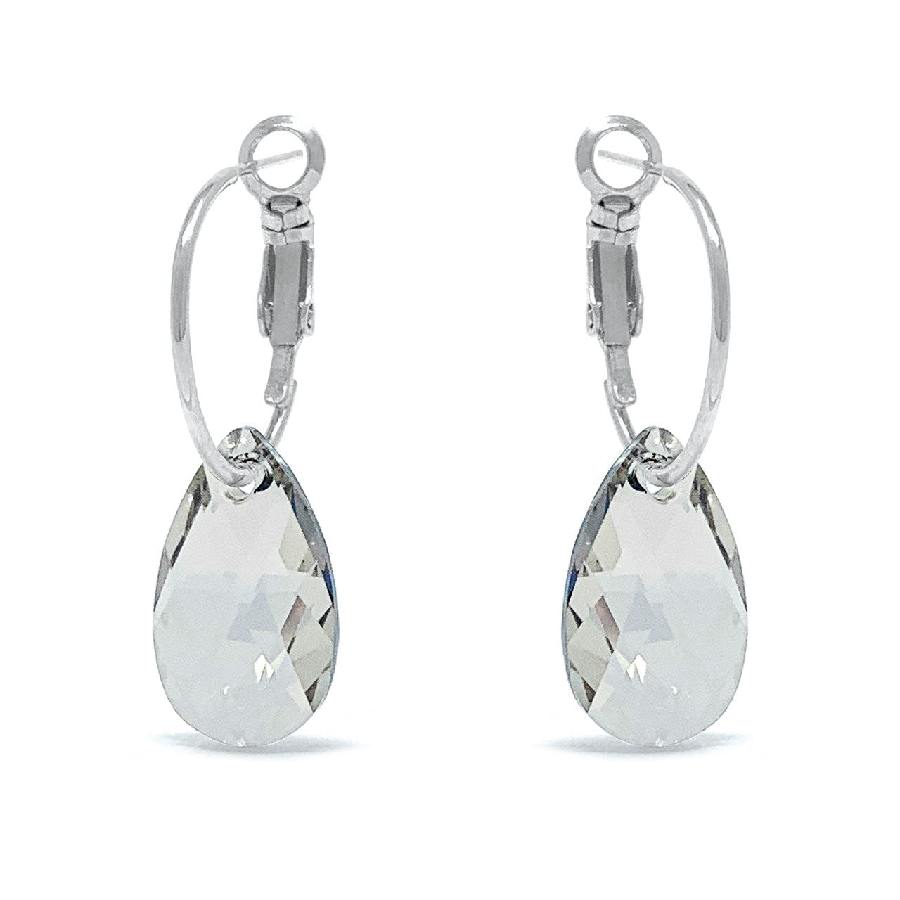 Aurora Small Drop Earrings with Grey Silver Shade Pear Crystals from Swarovski Silver Toned Rhodium Plated - Ed Heart