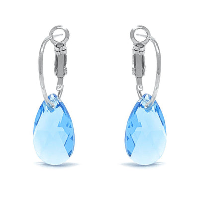 Aurora Small Drop Earrings with Blue Aquamarine Pear Crystals from Swarovski Silver Toned Rhodium Plated - Ed Heart