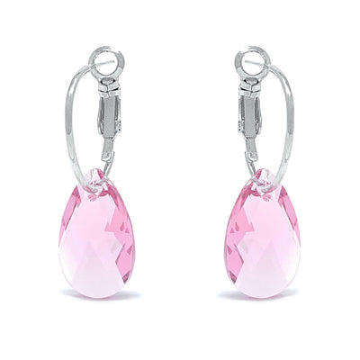 Aurora Small Drop Earrings with Pink Light Rose Pear Crystals from Swarovski Silver Toned Rhodium Plated - Ed Heart
