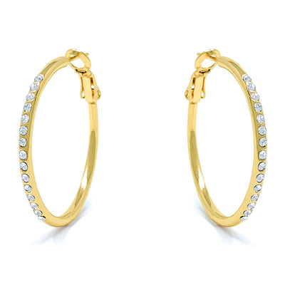 Amelia Small Pave Hoop Earrings with White Clear Round Crystals from Swarovski Gold Plated - Ed Heart