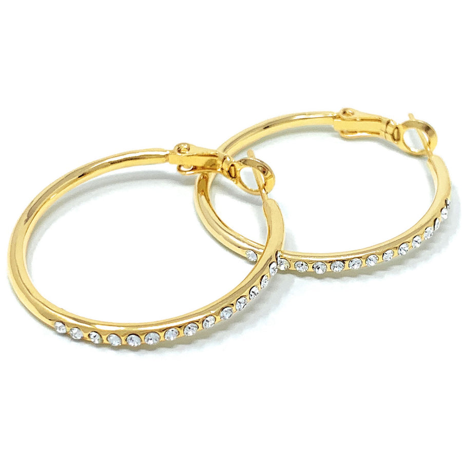 Amelia Small Pave Hoop Earrings with White Clear Round Crystals from Swarovski Gold Plated