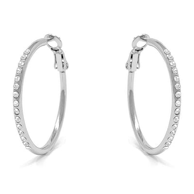 Amelia Small Pave Hoop Earrings with White Clear Round Crystals from Swarovski Silver Toned Rhodium Plated - Ed Heart