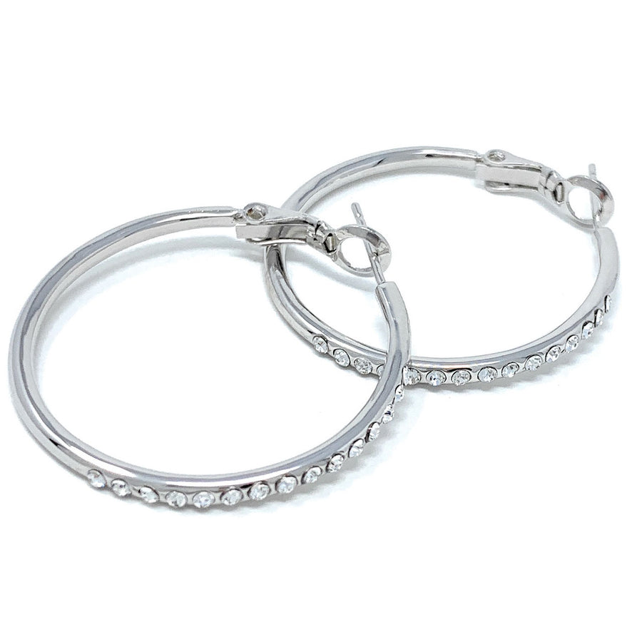 Amelia Small Pave Hoop Earrings with White Clear Round Crystals from Swarovski Silver Toned Rhodium Plated