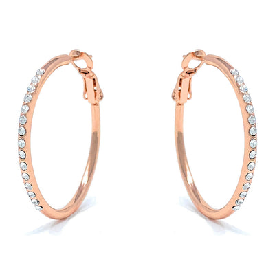 Amelia Small Pave Hoop Earrings with White Clear Round Crystals from Swarovski Rose Gold Plated - Ed Heart