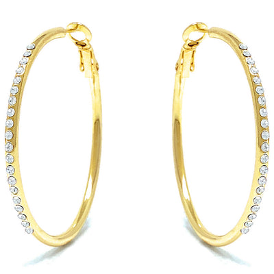 Amelia Large Pave Hoop Earrings with White Clear Round Crystals from Swarovski Gold Plated - Ed Heart