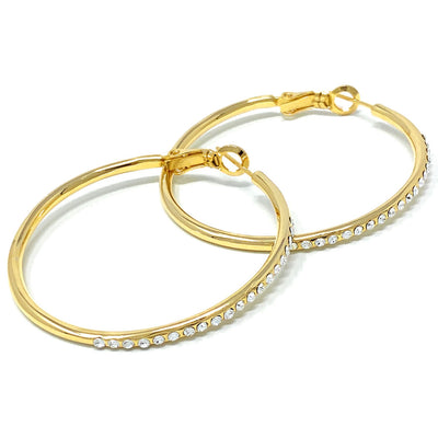 Amelia Large Pave Hoop Earrings with White Clear Round Crystals from Swarovski Gold Plated