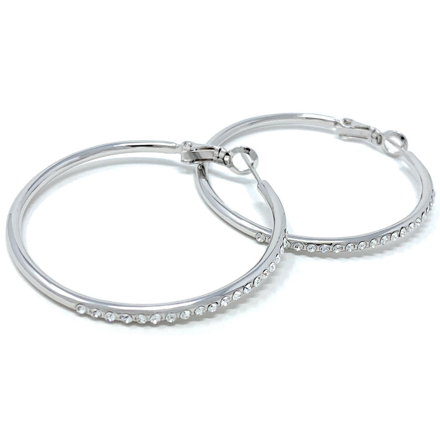 Amelia Large Pave Hoop Earrings with White Clear Round Crystals from Swarovski Silver Toned Rhodium Plated - Ed Heart