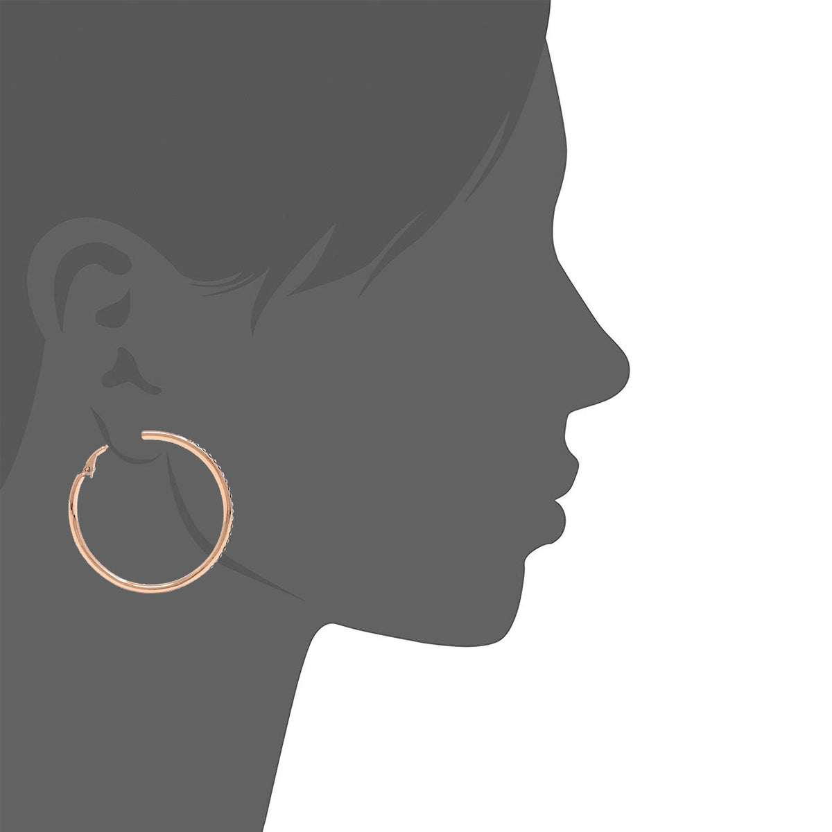 Amelia Large Pave Hoop Earrings with White Clear Round Crystals from Swarovski Rose Gold Plated - Ed Heart
