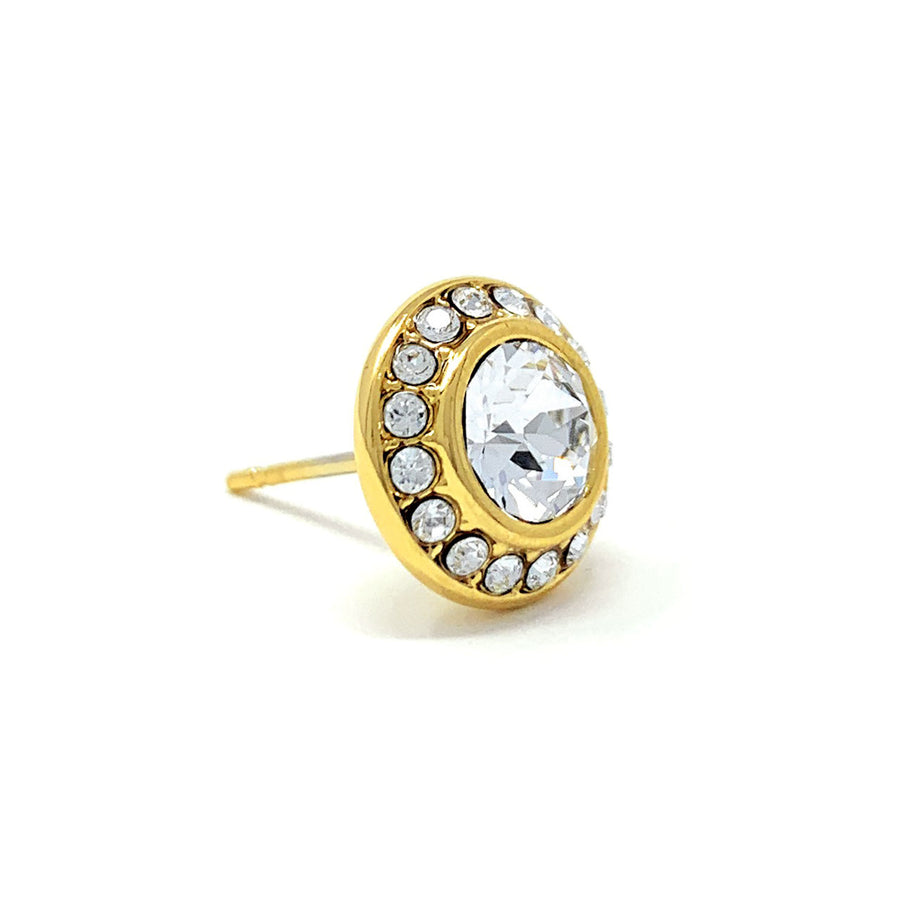 Halo Pave Stud Earrings with White Clear Round Crystals from Swarovski Gold Plated - Ed Heart