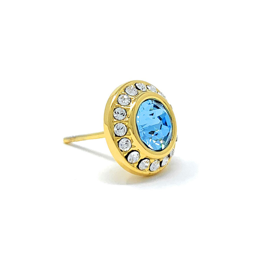 Halo Pave Stud Earrings with Blue Aquamarine Round Crystals from Swarovski Gold Plated