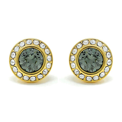 Halo Pave Stud Earrings with Black Diamond Round Crystals from Swarovski Gold Plated - Ed Heart