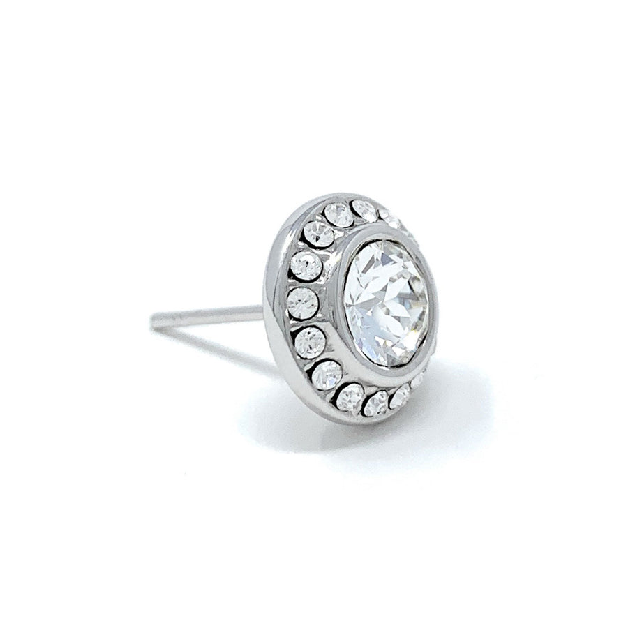 Halo Pave Stud Earrings with White Clear Round Crystals from Swarovski Silver Toned Rhodium Plated