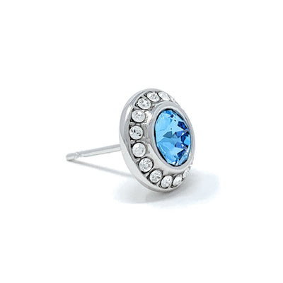 Halo Pave Stud Earrings with Blue Aquamarine Round Crystals from Swarovski Silver Toned Rhodium Plated
