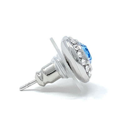 Halo Pave Stud Earrings with Blue Aquamarine Round Crystals from Swarovski Silver Toned Rhodium Plated - Ed Heart