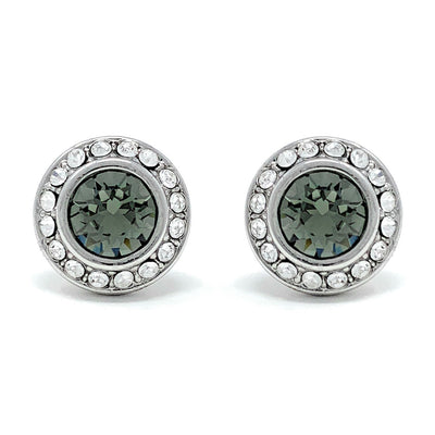 Halo Pave Stud Earrings with Black Diamond Round Crystals from Swarovski Silver Toned Rhodium Plated - Ed Heart