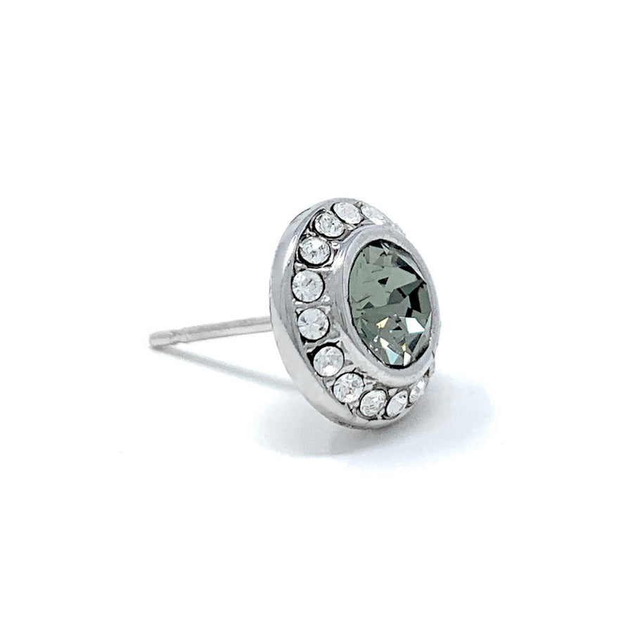 Halo Pave Stud Earrings with Black Diamond Round Crystals from Swarovski Silver Toned Rhodium Plated
