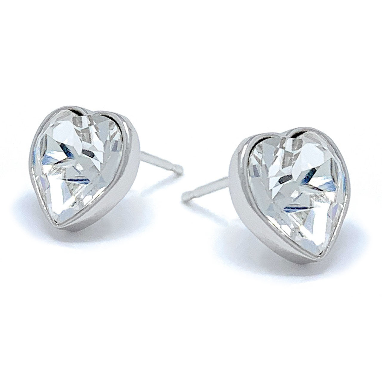 Lucia Stud Earrings with White Clear Heart Crystals from Swarovski Silver Toned Rhodium Plated - Ed Heart