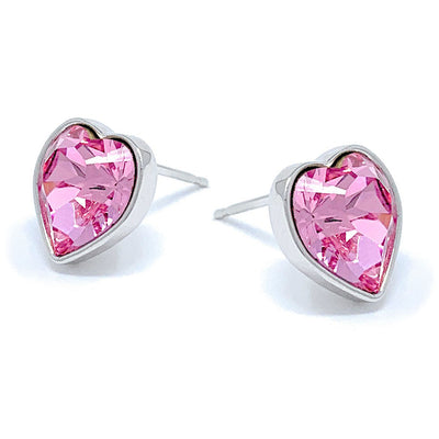 Lucia Stud Earrings with Pink Light Rose Heart Crystals from Swarovski Silver Toned Rhodium Plated