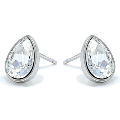 Mary Small Stud Earrings with White Clear Drop Crystals from Swarovski Silver Toned Rhodium Plated - Ed Heart