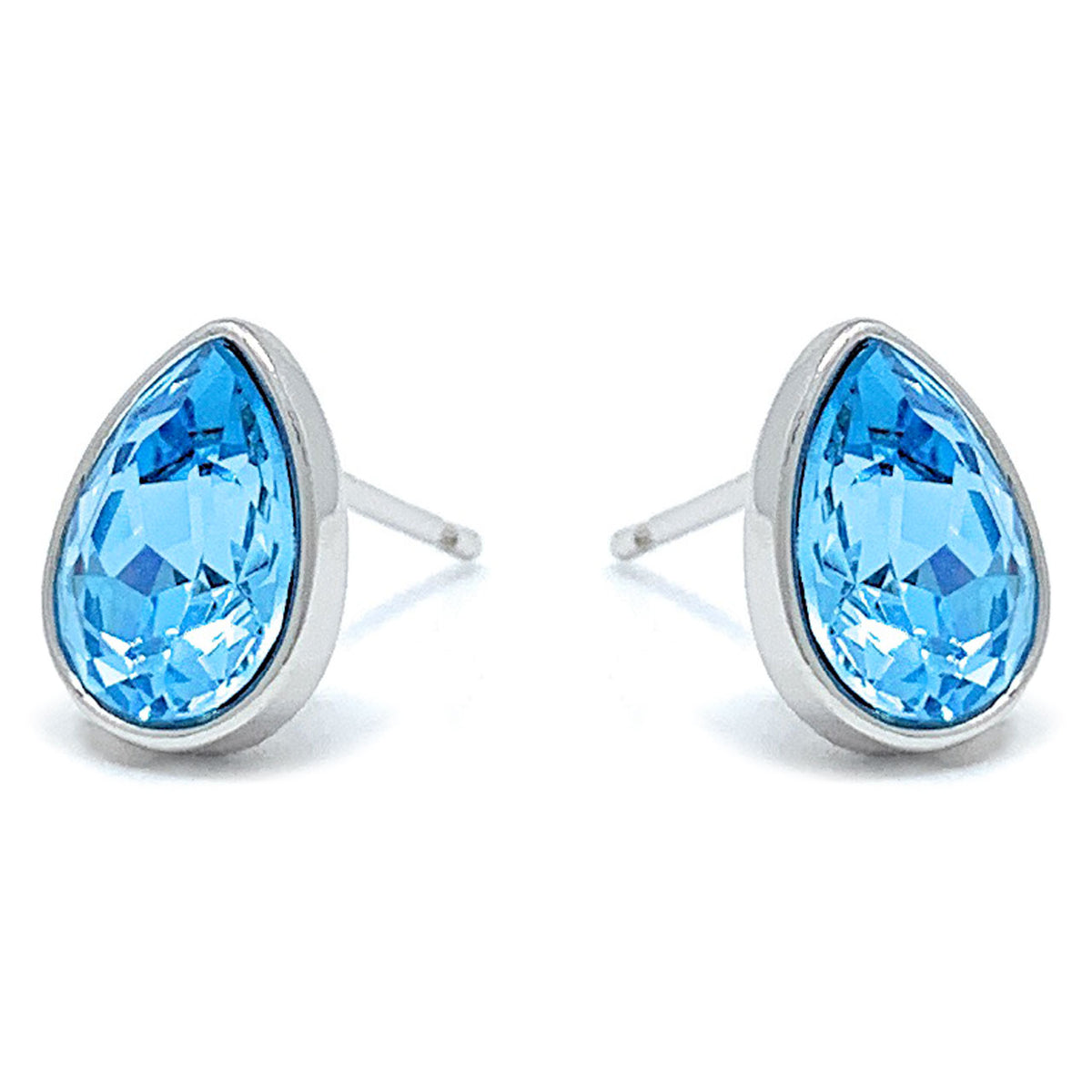 Mary Small Stud Earrings with Blue Aquamarine Drop Crystals from Swarovski Silver Toned Rhodium Plated - Ed Heart