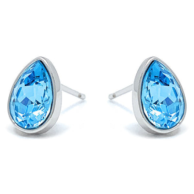 Mary Small Stud Earrings with Blue Aquamarine Drop Crystals from Swarovski Silver Toned Rhodium Plated