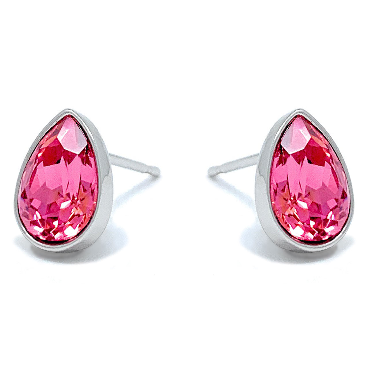 Mary Small Stud Earrings with Pink Rose Drop Crystals from Swarovski Silver Toned Rhodium Plated - Ed Heart