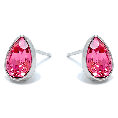 Mary Small Stud Earrings with Pink Rose Drop Crystals from Swarovski Silver Toned Rhodium Plated