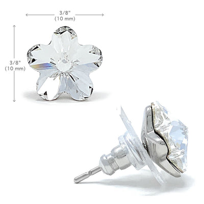 Anna Stud Earrings with White Clear Flower Crystals from Swarovski Silver Toned Rhodium Plated - Ed Heart