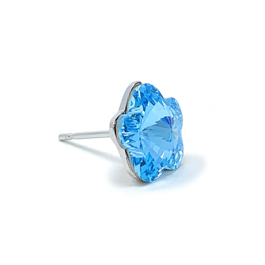 Anna Stud Earrings with Blue Aquamarine Flower Crystals from Swarovski Silver Toned Rhodium Plated