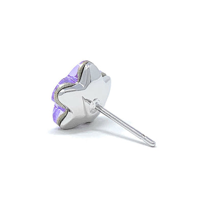 Anna Stud Earrings with Purple Violet Flower Crystals from Swarovski Silver Toned Rhodium Plated - Ed Heart