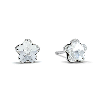 Anna Small Stud Earrings with White Clear Flower Crystals from Swarovski Silver Toned Rhodium Plated - Ed Heart